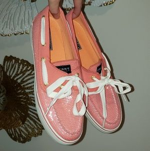 CORAL SPERRY TOP-SIDERS WITH SEQUINS